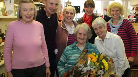 Joan Curnock from Oxfam in Sidmouth says a fond farewell as she retires from her role as a shop assi