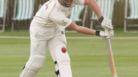 Sidmouth batsman Josh Bess is pictured playing against Exmouth at the Fortfield on Saturday. Photo b