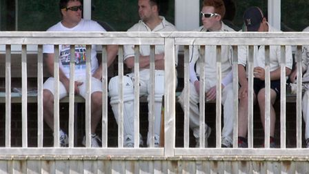 Ottery cricket club team mates wait for their chance at the crease. Photo by Terry Ife ref shsp 2837