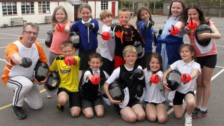 Pupils at Newton Poppleford Primary School had a go at fencing under the instruction of headteacher