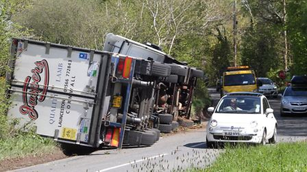 Overturned lorry on the B3180 near Aylesbeare. The lorry tipped over on the morning of Thursday, 16