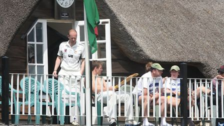 Sidmouth players enjoying the sun whilst waiting their turn at the crease against Cornwood. Photo by