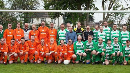 The reunion game teams line up