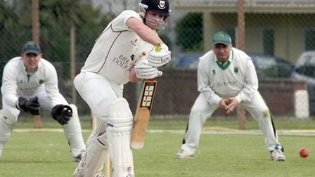 Left handed batsman Matthew Cook at the crease against Cornwood. Photo by Terry Ife ref shsp 2416-21