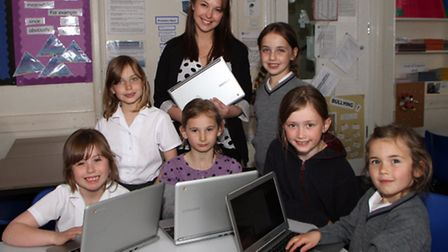 St John's School Year 3 and 4 pupils; Mollie, Saskia, Maddie, Ellie, Daisy and Anna make use of thei