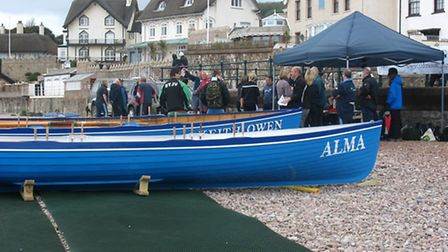 Sidmouth Gig Racing Club's two boats on the beach at the 'mini race day' last weekend.
