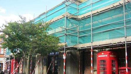 Swathed in scaffolding – Sidmouth Market