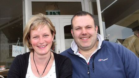 Andy and Lynda Cole the new owners of the Chattery in Sidmouth. Photo by Terry Ife ref shs 2611-21-1