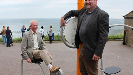 Beer parish councillor Martin Cox and East Devon district councillor Iain Chubb trying out Beer's ne