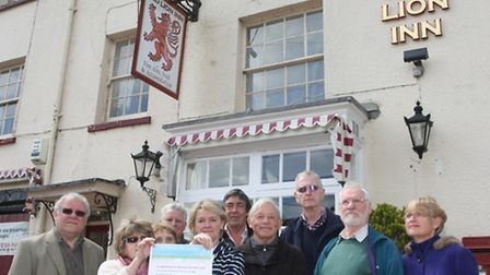 Sidbury into drama group outside the Red Lion Inn. Photo by Terry Ife ref shb 2344-20-13TI To order
