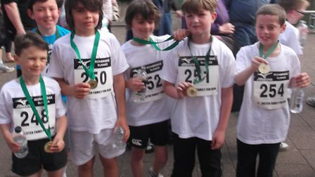 Ben Fisher, Jamie Wyant, Josh Miller, Jacob Taylor, Owen Foster and Dylan Green with their medals