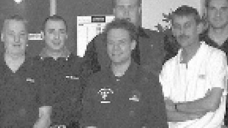 Mark Rodye (middle) at Sidmouth War Memorial Club in 2005