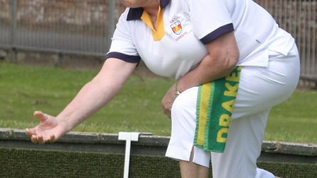 Sidmouth bowls club member Brenda Somerfield playing in a ladies 3 wood. Photo by Terry Ife ref shsp
