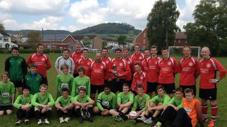 Football Sidmouth Town coching staff versus the Sidmouth Town Under-16 team