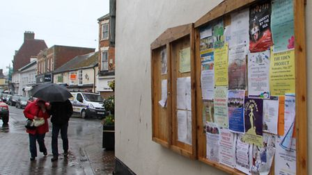 Notice board on the side of Pure Indulgence branded by the town council as 'dangerous'. Picture by A