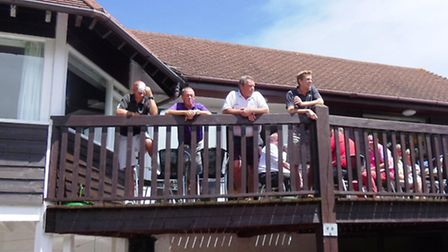 A crowded balcony at Sidmouth
