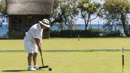 Richard Thurlow in action in the One Ball Tournament at Sidmouth