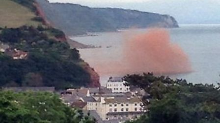 Cliff fall at Sidmouth, taken 8.00am on Friday, 21 June. Picture submitted by Liz Elliott. Ref shs c