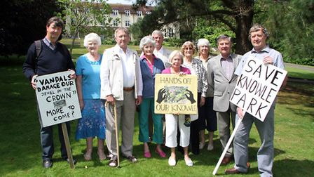 Angry Sidmouth residents gathered at Knowle Gardens after having their application for a public foot