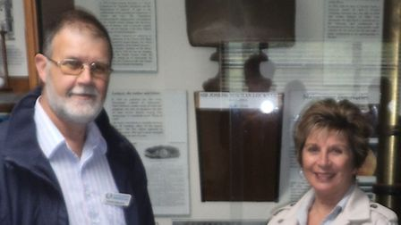Norman Lockyer Observatory chairman David Strange with the founder's great granddaughter, Wendy Lees