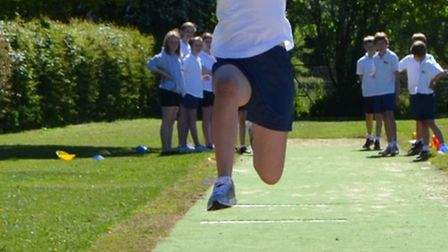 Sidmouth College students try out their new long jump pit