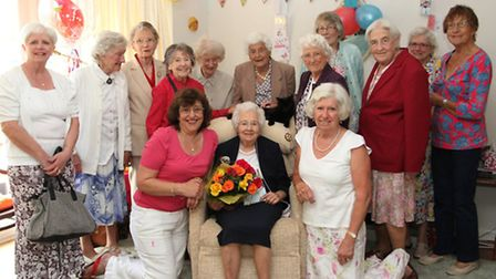 Florence Morris celebrated her 100th birthday at her home in Sidford on Saturday and is pictured wit