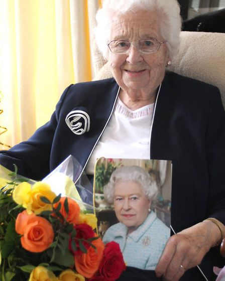 Florence Morris celebrated her 100th birthday at her home in Sidford on Saturday. Photo by Simon Hor