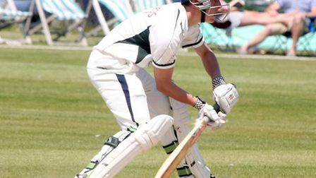 Dan Powell batting for Sidmouth second eleven against Exeter. Photo by Terry Ife ref shsp 3412-24-13