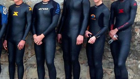 Tri athlon, the Swimmers prepare for their weekly training session/swim