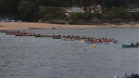 Gig Racing the start line at Salcombe