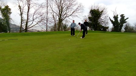 Rob Drew putts for birdie after a great approach to 16th at Sidmouth