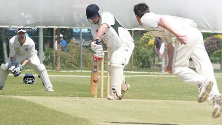 Matt Hewer batting for Sidmouth second eleven against Exeter. Photo by Terry Ife ref shsp 3397-24-13