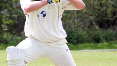 Ottery cricket club played Axminster on Saturday. Dan Flower in full swing. Picture by Alex Walton.