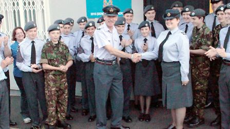 Becky is bade a fond farwell by squadron colleagues in Sidmouth