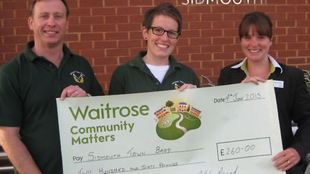 Sidmouth Town Band got a cash boost from Waitrose