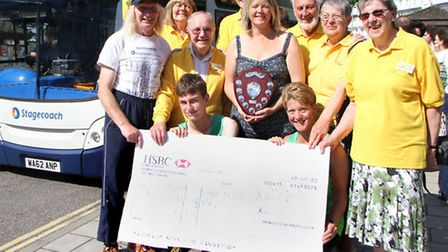 Beat the Bus challenge cheque presentation to Sidmouth Living With Cancer group. Picture by Alex Wal