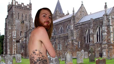 Ben McNeil superimposed next to St Mary's Church in Ottery