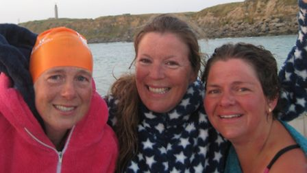 Kathy, Jo and Kate after their swim was complete