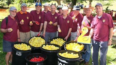 Sidmouth Lions Club Duck Derby at the Byes in Sidmouth on Sunday 18th July. Lions club members befor