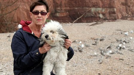 Rose Rodell with her dog Berkley at Pennington Point. Rose is concerned for the welfare of gulls dur