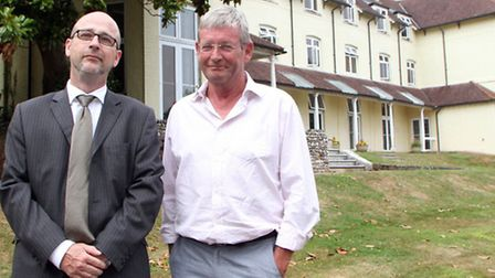 Cllr Paul Diviani and Richard Cohen at the Knowle. Picture by Alex Walton. Ref shs 8229-30-13AW