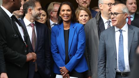 Gina Miller reacts outside the Supreme Court in London, where judges have ruled that Boris Johnson's