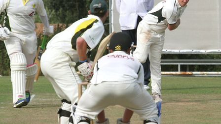 Sidmouth 3rds bowler Chris Collins sends a delivery against Budleigh 2nds at Bicton on Saturday. Ph