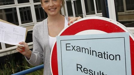 Bryony Cairns with her A level results outside Sidmouth college. Photo by Terry Ife ref shs 5088-33-