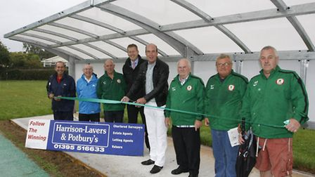 Stuart Hughes at the opening of the new stand at Sidmouth town FC. Photo by Terry Ife ref shsp 5435-