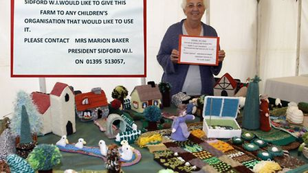 Beryl Kingman with the WI farm at the Sid valley horticultural society show. Photo by Terry Ife ref