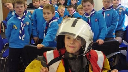 Beaver Oliver Fletcher got to don some of the lifeboat crew's equipment.