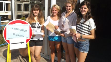 Sidmouth College students Jade Mortimer, Kate Vine, Emily Woodfruuf and Alice Barrett with their GCS