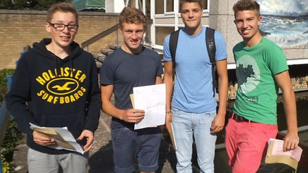 Sidmouth College student Junior O'Brien, James Maskill, Oliver Bond and Jamie Briggs with their GCSE