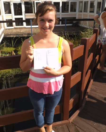 Sidmouth College student Darija Roland-Small with her GCSE results